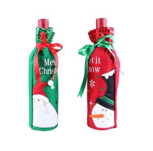 Miya 2er Set schön kreative Weinfalsche Bezüge, Süßigkeit Beutel, Flasche Beutel, Geschenkverpackung, Flaschenhülle mit lustige Motiv von Schneemann und Nikolaus, ideale Tisch Deko für Weihnachten
