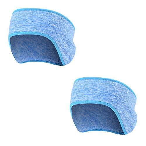 AYPOW Winter Stirnband Ohr wärmer,leichte warme Fleece Material Full Cover Ohrenschützer Sport Schweißband Multifunktions Stirnbänder für Erwachsene Männer und Frauen(2 Pack - Blau)