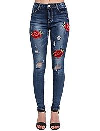 PILOT® floraux brodés jeans skinny en difficulté