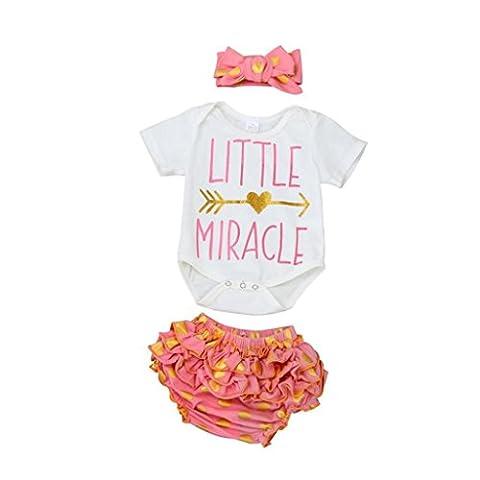 Vêtements pour filles, Tonwalk 3 PIÈCES Ensemble culottes Princess Baby Tops Romper + Folded Briefs (18M, Rose)