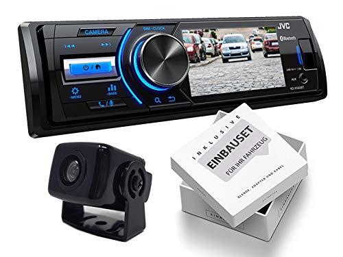 JVC KDX560BT 1-DIN Media Receiver Farbdisplay inklusive Rückfahrkamera für Jeep Grand Cherokee (WH Facelift) 2007-2010 schwarz