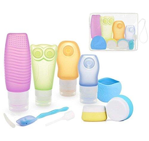 Silikon Reise Flaschen Set,ieGeek 10 Pack Körperpflege Travel Flaschen für Flüssigkeiten mit Kulturbeutel, BPA frei nachfüllbar Auslaufsicher Creme Topf für Shampoo, Toilettenartikel, Lotion, Sunblo (Erweiterung Der Tasche)