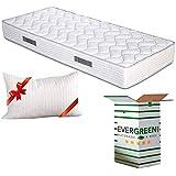 Evergreenweb - Materasso Singolo 90x190 Alto 20 cm in Poliuretano ORTOPEDICO lastra Water Foam Bio + CUSCINO Memory Foam INCL