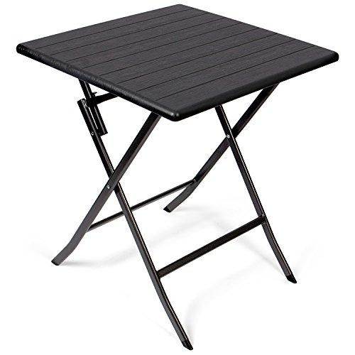 Vanage Beistelltisch in schwarz - eckiger Gartentisch in Holzoptik - Kunststofftisch für Garten, Terrasse und Balkon geeignet - Bistrotisch mit Stahlgestell