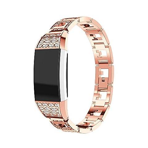 Fitbit Charge 2 Armband, iHee 2017 Neue Mode Vertraglicher Design Stil Edelstahl Uhren Armband Armband für Fitbit charge 2 (Rose Gold)