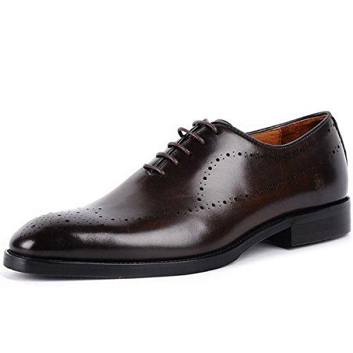 Lyzgf Gentleman Business Casual Mode Formel Chaussures En Cuir Bout Pointu Respirant Brown
