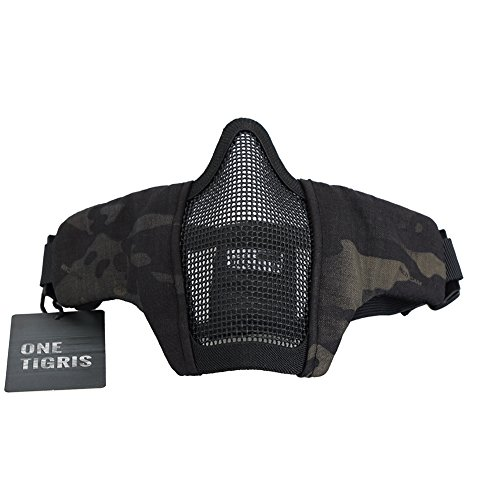 "OneTigris 6"" Tactical Foldable Half Face Mask Protective Mesh Mask for Airsoft Paintball CS with Adjustable and Elastic Belt Strap (Black MultiCam)"