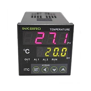 Inkbird Dual Digitale Temperaturregler Heizen & Kühlen Thermostat Thermoelement PID Temperature Controller, Spannung Ausgabe ITC-100VH 220V