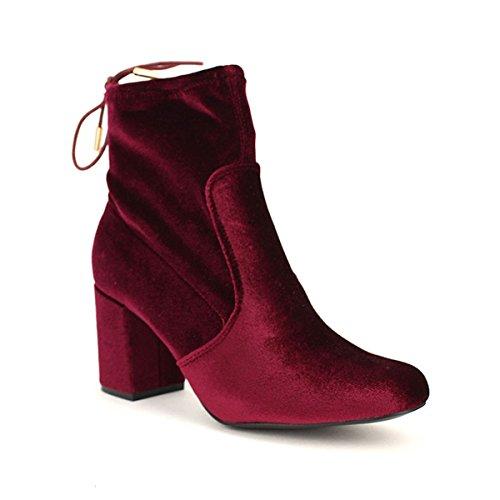 Cendriyon, Bottine Bordeaux VELOURS Satin ERST Chaussures Femme Bordeaux