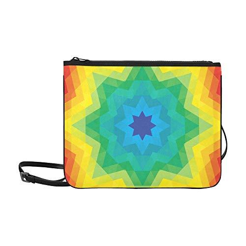 WYYWCY Abstraktes schönes Kaleidoskop-Muster-Gewohnheits-hochwertiges dünnes Nylon-Handtasche Kreuzkörperbeutel-Schulter-Beutel