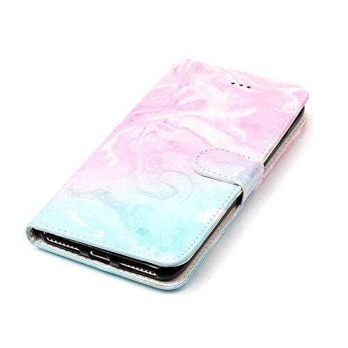 """MOONCASE iPhone 7 Plus Hülle, [Colorful Pattern] Stoßfest Ganzkörper Schutzhülle mit Ständer Leder Handytasche Case für iPhone 7 Plus 5.5"""" White Pink Green"""