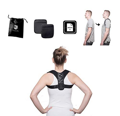 moLife Geradehalter für Damen & Herren + Bonus E-Book + Tragetasche + Achselpolster - verstellbare & komfortable Unisex Haltungskorrektur - Rückenstabilisator für ein besseres Auftreten
