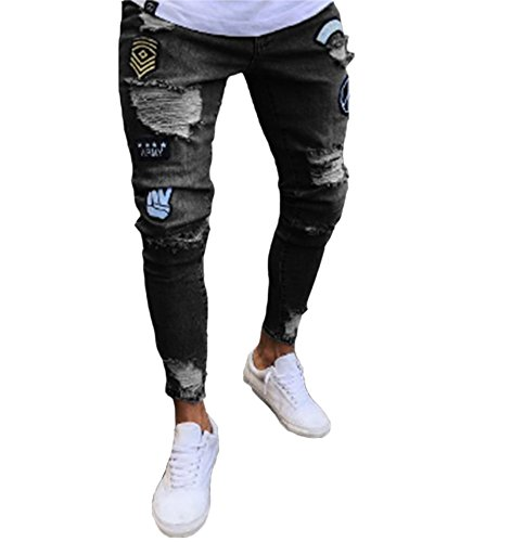 Hellomiko Männer Denim Hosen, Stretch Skinny Fit Zerrissene Jeans Hübsche Mode-Design Denim-Hosen