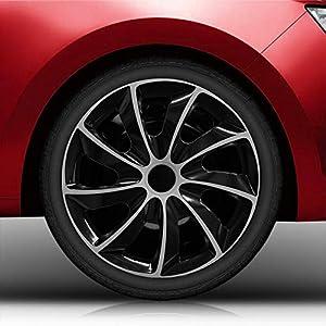 Autoteppich Stylers Aktion 15 Zoll Radkappen Nr.002 Schwarz-Silber Bundle (Farbe und Größe wählbar!)