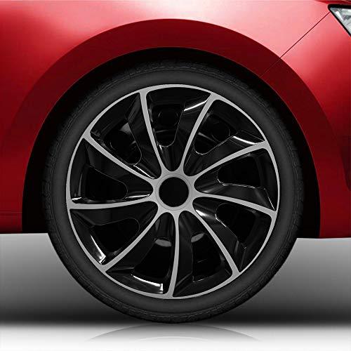 Autoteppich Stylers Aktion 14 Zoll Radkappen Nr.002 Schwarz-Silber Bundle (Farbe und Größe wählbar!)