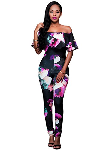 Floral Schulter (Damen Schwarz & Multi Farbe Floral Off Schulter Jumpsuit Catsuit Clubwear Kleidung Größe M UK 10–12EU 38–40)