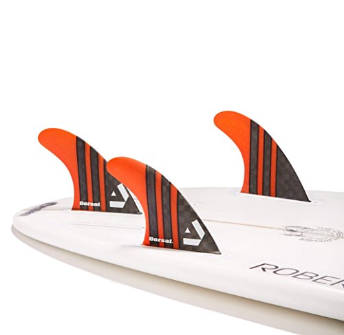 Dorsal Carbon (Hexcore) Thruster Surfboard Fins (3) Honeycomb FUT Base Orange by Dorsal