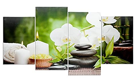 levandeo Wandbild 4 teilig 130x70cm - Spa Wellness Kerzen Orchidee