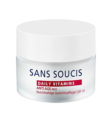 Sans Soucis Daily Vitamins Anti Age Rich LSF 10: Vitaminreiche Gesichtscreme mit Hyaluronsäure und Granatapfelkernöl, für trockene Haut, mildert Falten, vegan