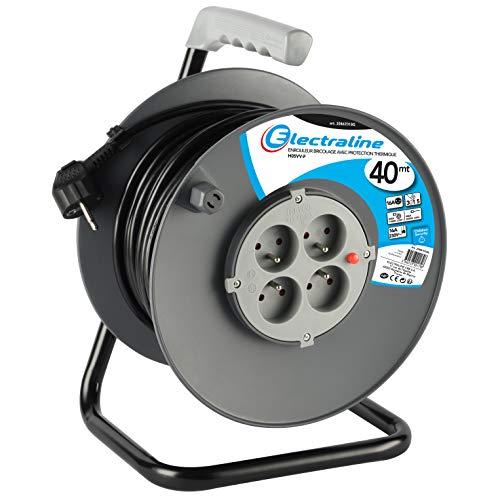Electraline 20867018G Rallonge Prolongateur électrique 40 m avec enrouleur 4 Prises 16 A section 3G1,5 mm² Gris