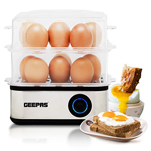413iFgm3W7L. SS500  - Geepas 2 in 1 Egg Boiler and Poacher – Capacity for 16 Eggs - Electric Egg Cooker, Poaching Bowl & Measuring Cup with Egg Piercer Included - Perfect Soft Medium & Hard Boiled Eggs - 2 Year Warranty