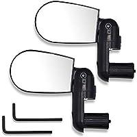 Espejo para bicicleta, conjunto de 2 espejos retrovisores con rotación de 360 grados para bicicleta o moto, espejos flexibles y reflectantes, negro