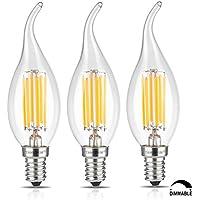 TAMAYKIM C35 6W Dimmerabile Filamento Lampadina LED Candela - 3000K Bianco Caldo 600 lumen - 6W equivalente a 60W - Attacco E14 - Fiamma Forma - 360° Angolazione Fascio Luce - 3 Pezzi