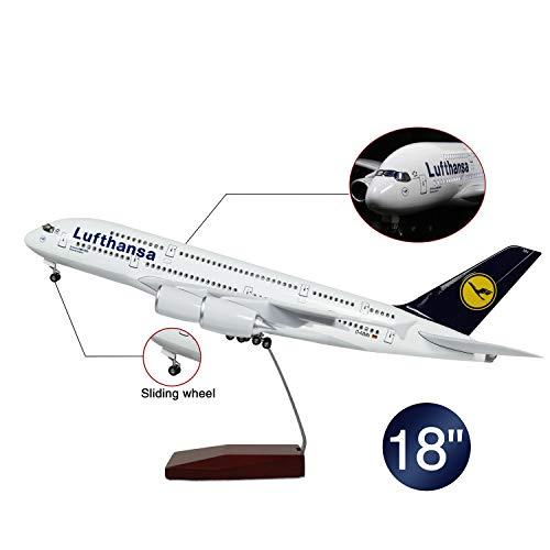 HANG OU 46cm LED-Beleuchtung 1:160 Modellflugzeug Lufthansa Airbus 380 mit Fahrwerk Flugzeug Geschenk oder Deko