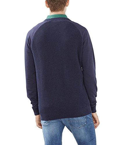 ESPRIT Herren Pullover mit Struktur-Regular Fit Blau (NAVY 400)