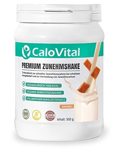 Trinknahrung hochkalorisch für Gewichtszunahme | Kohlenhydrate & Eiweiß als Kalorien Shake | Hochdosiert mit vielen Vitaminen | CaloVital - Premium Qualität aus Deutschland (Karamell 500g)