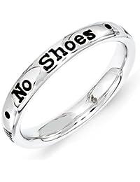 3,25 mm de plata de ley Expressions apilables anillo letra sin zapatos sin camiseta tama?o - R 1/2 - JewelryWeb