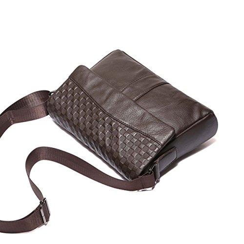 Sacchetto di cuoio maschile degli uomini Casuale Uomini di affari Messenger della spalla Messenger del modello del sacchetto di scatola di controllo della scatola Coffee