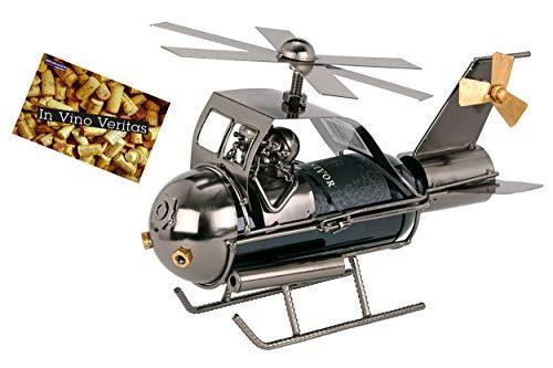 Brubaker Weinflaschenhalter \'Paar im Hubschrauber\' - Metall - Skulptur Geschenk mit Geschenkkarte