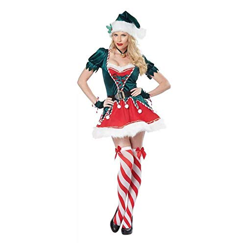 ZSDFGH Kostüm, Mrs Claus Hooded Dress, Damen Weihnachten Fasching,Green-L