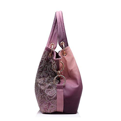 Realer Tote Borsa Donne Hollow Fiori Design Borsette in pelle sintetico per Donna Grigio rosa