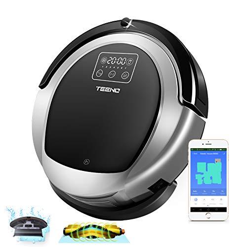 Aspirateur Robot 3 en 1,TEENO Robot Aspirateur Laveur avec fonction lavage de sol,Système de Nettoyage Puissant,Compatible avec Alexa, Bordure Magnétique,Moquettes et Sols Durs