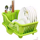 Swabs™ 3-in-1 Plastic Kitchen Sink Dish Drying Rack(Multicolour, 44x24x14cm)(SMALL SIZE) Kitchen Sink Dish Drainer And Drying Rack Washing Basket With Removable Tray The Washing Holder Basket Organizer Tray Size 44 X 24 X 16 Cm, This Dish Stand Made