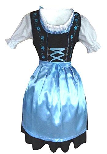 teiliges Trachtenkleid in türkis schwarz, Kleid mit Bluse und türkiser Schürze, Rocklänge ca 60 cm, Gr. 44 (Lederhosen Kostüm Männer)