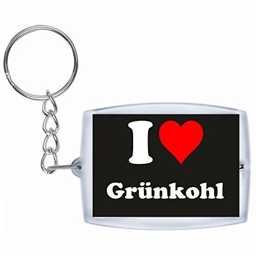 """Preisvergleich Produktbild Exklusive Geschenkidee: Schlüsselanhänger """"I Love Grünkohl"""" in Schwarz, eine tolle Geschenkidee die von Herzen kommt - Rucksackanhänger- Weihnachts Geschenktipp"""