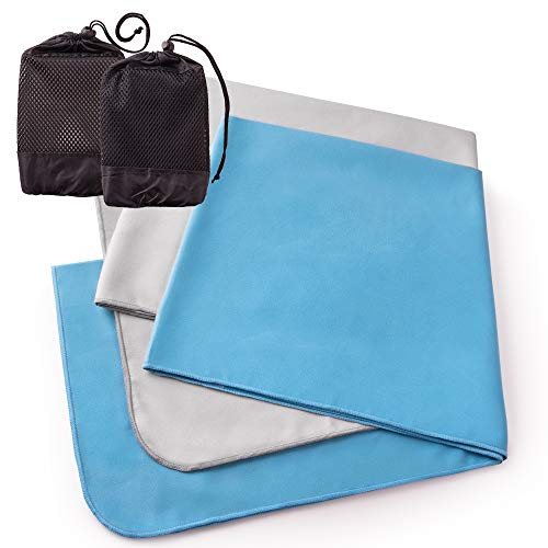 The Friendly Swede Mikrofaser Handtücher x 2 schnelltrocknend und saugfähig - Fitness Handtuch, Sporthandtuch Set - Ultraleichte Reisehandtücher, Badetücher mit praktischen Netztaschen