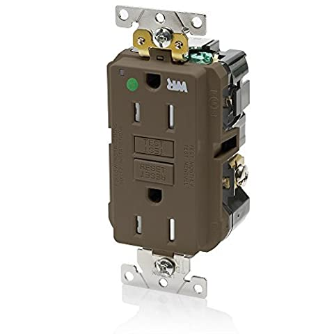Leviton GFWT1-HG 15A-125V Extra-Heavy Duty Hospital Grade Tamper/Weather-Resistant Duplex Self-Test GFCI Receptacle, Brown, 15-Amp by