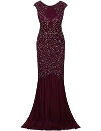 Vijiv mujer 1920 Inspired Gatsby V Volver Art Deco con cuentas Maxi vestido de noche largo