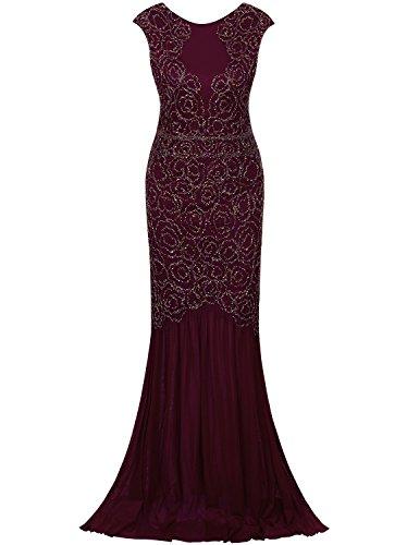 (Vijiv Damen 1920 Inspired Gatsby V Zurück Art Deco wulstige Maxi Abend-lange Abendkleid m/uk10-12/eu38-40 rot)
