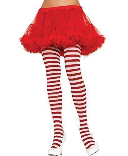 e Streifen Strumpfhosen strumpfwaren Halloween Kostüm Geek Nerd Mrs Santa Einheitsgröße &Übergröße - rot/weißen Streifen, One Size (Mrs Santa Halloween Kostüm)