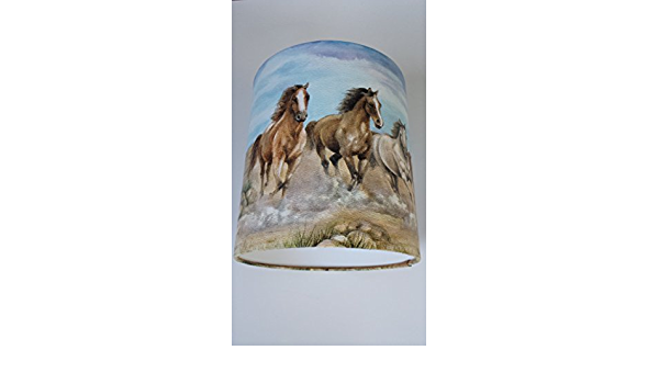 """8/""""//20cm LAMPSHADE MADE FROM WILD HORSES WALLPAPER BODER."""