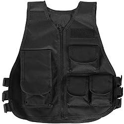 SolUptanisu Chaleco Camuflaje para Niños y Adultos, Chaleco de Táctico de Militar de Ejército Chaleco de Combate CS Molle Chaleco para Niños Juegos Al Aire Libre(Adulto-Negro)