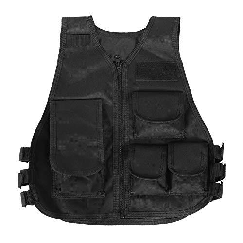 Tbest Gilet Tactique Militaire Barbarians Gilet de Combat Veste de Camouflage d'enfants Adultes Camo Armée Gilet pour des Jeux Extérieurs(S-Noir)