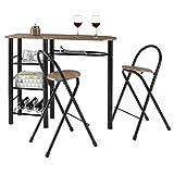 Ensemble STYLE avec table haute de bar mange-debout comptoir avec 3 étagères et 1 porte-bouteilles et 2 chaises/tabourets avec dossier, table et assise MDF décor chêne sauvage structure en métal noir