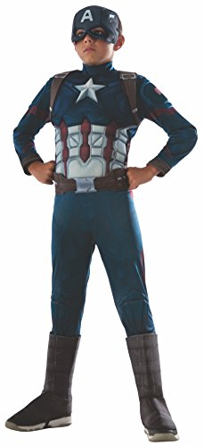 Rubies Offizielles Marvel Civil War Captain America Deluxe, Kinder ()