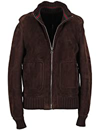 CL - Gucci Brown Leather Bomber Jacket Coat Size 50 / 40R U.S. With Lamb Fur Lining